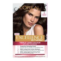 L'Oreal Paris Excellence Triple Care Hair Colour 3 Darkest Brown