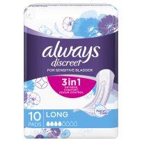 Always Discreet Long 10 Pads For Bladder Leaks