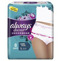 Always Discreet Underwear L Plus 8 Pants Pack