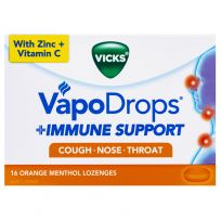 Vicks VapoDrops Immune Support Lozenges Orange 16 Pack