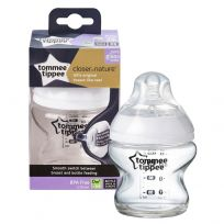 Tommee Tippee Closer to Nature Glass Bottle with Slow Teat 150ml 1 Pack