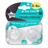 Tommee Tippee Soothers Any Time 0-6 Months 2 Pack (colour & styles vary)