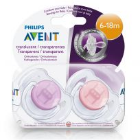 Avent Soothers Translucent 6-18 Months 2 Pack