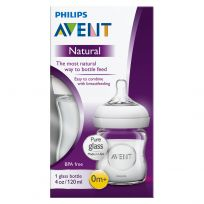 Avent Natural Glass Feeding Bottle 0 Month + 120ml Single