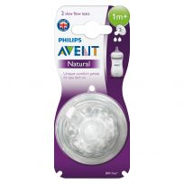 Avent Natural Teats Slow Flow 1 Month + 2 Pack