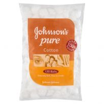 Johnson's Pure Cotton Balls White 120 Pack