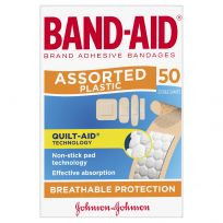 Band Aid Assorted Shapes 50 Pack