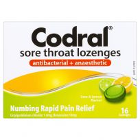 Codral Sore Throat Lozenges Antibacterial + Anaesthetic Lime & Lemon 16 Pack