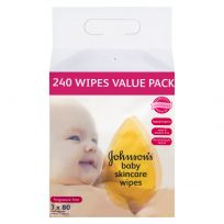 Johnson's Baby Wipes Skincare Fragrance Free 240 Wipes Value Pack