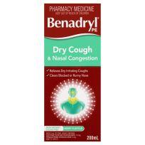 Benadryl PE Cough Liquid Dry Cough & Nasal Decongestant 200ml