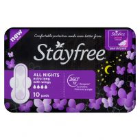 Stayfree Regular All Night Wings Pads 10 Pack