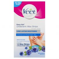 Veet Easy-Gel Underarm Wax Strips for Sensitive Skin