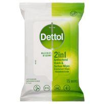 Dettol 2 in 1 Antibacterial Wipes 15 Pack