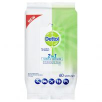 Dettol 2 in 1 Antibacterial Wipes 60 Pack
