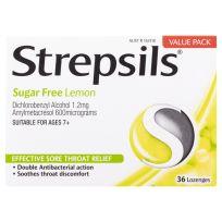 Strepsils Sore Throat Lozenges Sugar Free Lemon 36 Pack