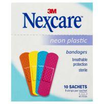 Nexcare Neon Plastic Bandages 10 Sachets (9 strips per Sachet)