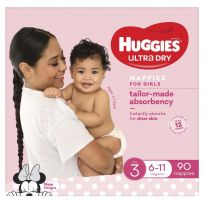 Huggies Ultra Dry Nappies Girls Size 3 (6-11kg) 90 Pack
