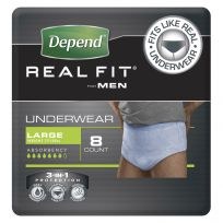 Depend Real Fit Mens Underwear Large 8 Pack