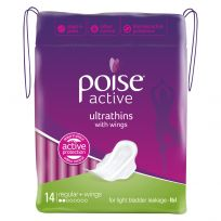 Poise Pads Active Ultrathins Regular with Wings 14 Pack