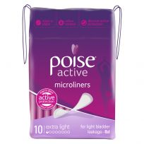 Poise Pads Active Microliners Extra Light 10 Pack