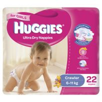 Huggies Convenience Nappy Crawler Girl 22 Pack