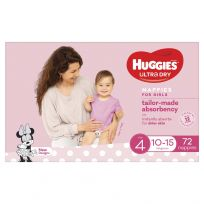 Huggies Ultra Dry Nappies Girls Size 4 (10-15kg) 72 Pack