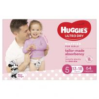 Huggies Ultra Dry Nappies Girls Size 5 (13-18kg) 64 Pack