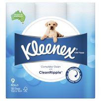 Kleenex Toilet Tissue Paper White 9 Pack
