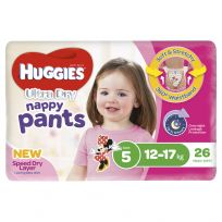 Huggies Ultra Dry Nappy Pants Girls Size 5 26 Pack