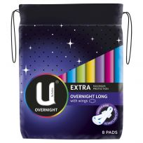 U By Kotex Pads Extra Overnight Long 8 Pack