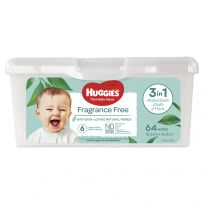 Huggies Thick Baby Wipes Fragrance Free Refillable Tub 64 Pack