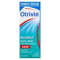 Otrivin Adult Menthol Nasal Spray 10ml 62 Sprays