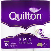 Quilton Toilet Paper Tissue 3 Ply White 18 Pack