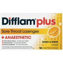 Difflam Plus Anaesthetic Sore Throat Lozenges Honey & Lemon 16 Pack