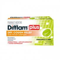 Difflam Plus Dry Cough Relief Lozenges Pineapple Lime 24 Pack