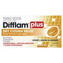 Difflam Plus Dry Cough Relief Honey Lemon & Ginger Flavour 24 Lozenges