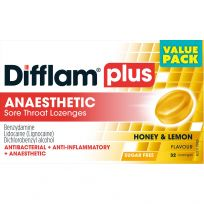 Difflam Plus Anaesthetic Sore Throat Lozenges Honey & Lemon Flavour 32 Pack