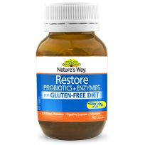 Nature's Way Restore Probiotics + Enzymes for Gluten Free Diet 30 Capsules