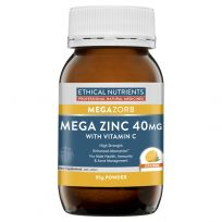 Ethical Nutrients MegaZorb Zinc 40mg Powder + Vitamin C Orange Flavour 95g