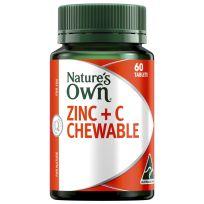 Nature's Own Zinc + C Chewable 60 Tablets