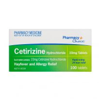 Pharmacy Choice Cetirizine Hayfever Relief 100 Tablets