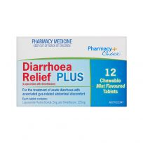 Pharmacy Choice Diarrhoea Relief Plus 12 Chewable Mint Tablets