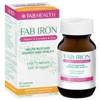 Fab Iron + Vitamin B Complex & Zinc 60 Capsules