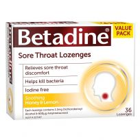 Betadine Antiseptic Sore Throat Lozenges Honey & Lemon 36 Pack