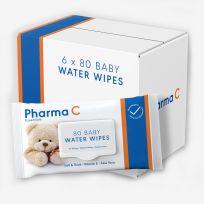 Pharma C Essentials Baby Water Wipes 6 x 80 Pack