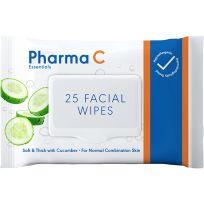 Pharma C Essentials Face Wipes Gentle Cucumber 25 Pack