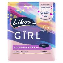 Libra Girl Pads Goodnights Wings 10 pack