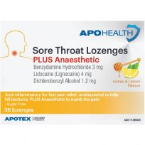 ApoHealth Sore Throat Lozenges Plus Anaesthetic 36 Pack