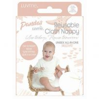 Pandas by LuvMe Cloth Nappy with Insert Natural