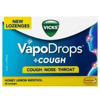 Vicks VapoDrops + Cough Lozenges Honey Lemon Menthol 36 Pack